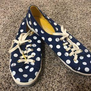 Royal blue and white polka dot Keds size 9